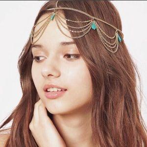 $3  Gold Turquoise Boho Head Piece Hair Chain